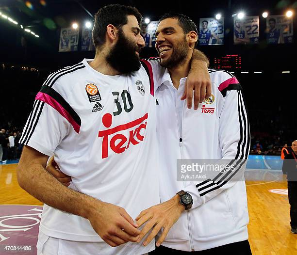 Ioannis Bourousis #30 of Real Madrid celebrates victory during the 20142015 Turkish Airlines Euroleague Basketball Play Off Game 4 between Anadolu...