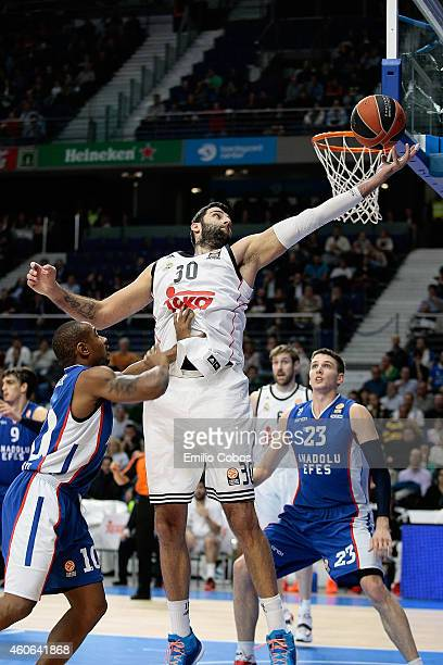 Ioannis Bourousis #30 of Real Madrid in action during the 20142015 Turkish Airlines Euroleague Basketball Regular Season Date 10 game between Real...
