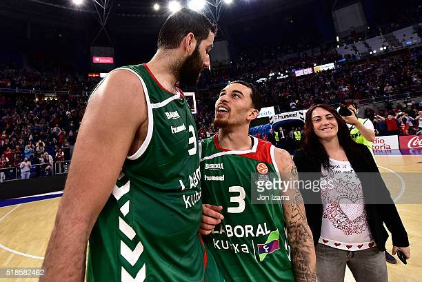 Ioannis Bourousis #9 of Laboral Kutxa Vitoria Gasteiz and Mike James #3 of Laboral Kutxa Vitoria Gasteiz in action during the 20152016 Turkish...