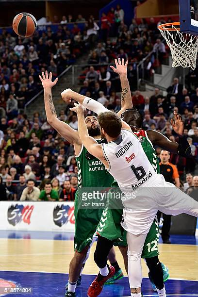 Ioannis Bourousis #9 of Laboral Kutxa Vitoria Gasteiz competes with Andres Nocioni #6 of Real Madrid in action during the 20152016 Turkish Airlines...