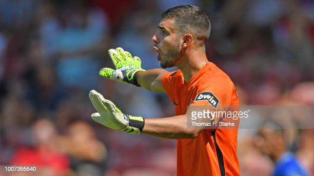Ioannis Gelios of Bielefelder gives advice to his teammates during the 3. Liga match between FC Energie Cottbus and F.C. Hansa Rostock at Stadion der...