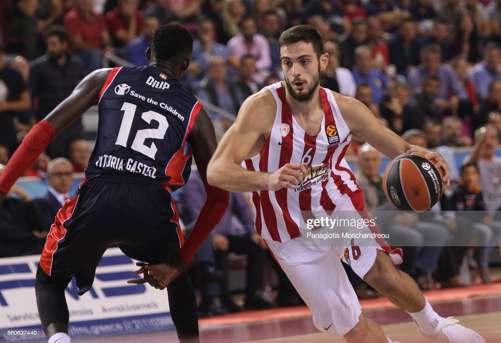 Ioannis Papapetrou, #6 of Olympiacos Piraeus in action during the 2017/2018 Turkish Airlines EuroLeague Regular Season Round 1 game between Olympiacos Piraeus v Baskonia Vitoria Gasteiz at Heraklion Arena on October 12, 2017 in Heraklion, Crete, Greece.
