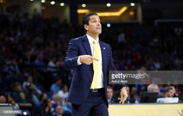 Ioannis Sfairopoulos Head Coach of Maccabi Fox Tel Aviv in action during the 2018/2019 Turkish Airlines EuroLeague Regular Season Round 8 game...