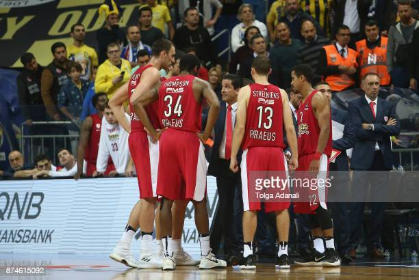 Ioannis Sfairopoulos Head Coach of Olympiacos Piraeus and Olympiacos Piraeus bench 2017/2018 Turkish Airlines EuroLeague Regular Season Round 7 game...