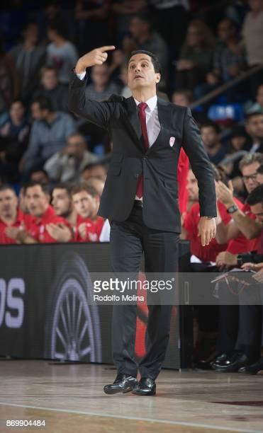 Ioannis Sfairopoulos Head Coach of Olympiacos Piraeus in action during the 2017/2018 Turkish Airlines EuroLeague Regular Season Round 5 game between...