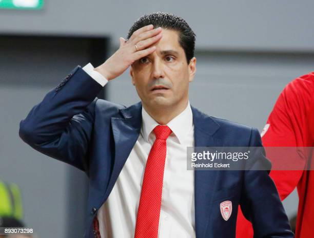 Ioannis Sfairopoulos Head Coach of Olympiacos Piraeus in action during the 2017/2018 Turkish Airlines EuroLeague Regular Season Round 12 game between...