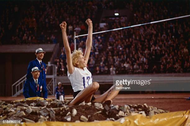 Iolanda Balas of Rumania after jumping 190 a new Olympic record