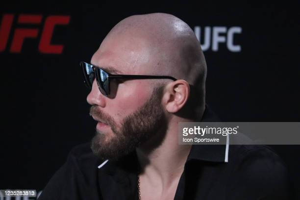 Ion Cuelaba interacts with media during the UFC Vegas 37 Media Day on September 15, 2021 at UFC Apex in Las Vegas, Nevada.
