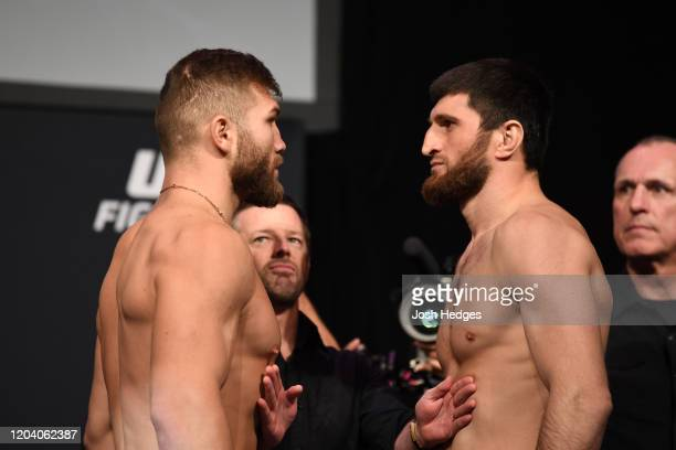 Ion Cutelaba of Moldova and Magomed Ankalaev of Russia face off during the UFC Fight Night ceremonial weighin at Chartway Arena on February 28 2020...