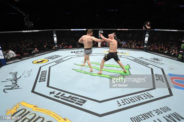 Ion Cutelaba of Moldova lands a spinning back fist against Glover Teixeira of Brazil in their light heavyweight bout during the UFC Fight Night event...