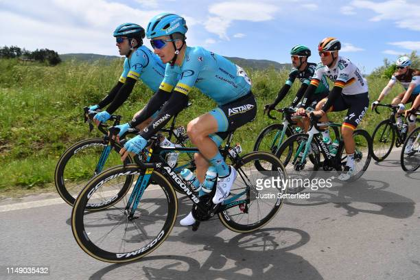 Ion Izaguirre of Spain and Astana Pro Team / Pello Bilbao of Spain and Astana Pro Team / Pascal Ackermann of Germany and Team Bora - Hansgrohe /...