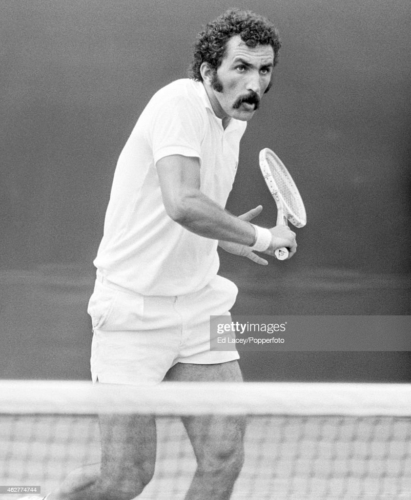 Ion Tiriac of Romania in action at Wimbledon, circa June 1971. Tiriac lost in the third round to Tom Gorman of the United States in straight sets.