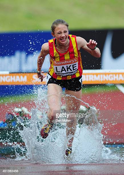 Iona Lake competes in the Women's 3000m Steeplechase Final during day two of the Sainsbury's British Championships at Birmingham Alexander Stadium on...