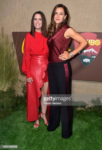 Ione Skye and Jennifer Garner attend the Los Angeles premiere of the HBO Series Camping at Paramount Studios on October 10 2018 in Hollywood...