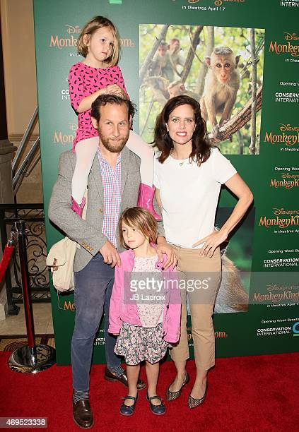Ione Skye Ben Lee and Goldie Priya Lee attend the world premiere of Disney's 'Monkey Kingdom' at Pacific Theatres at The Grove on April 12 2015 in...