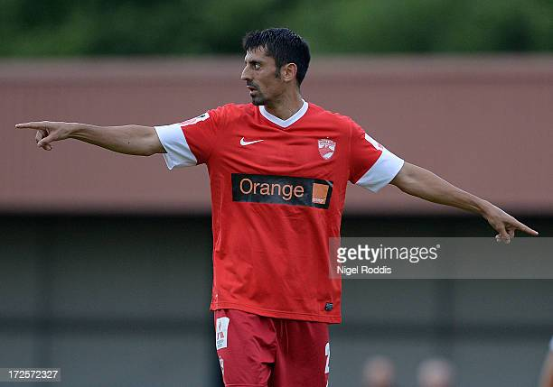 Ionel Danciulescu of Dinamo Bucharest gestures during a preseason friendly between Livingston and Dinamo Bucharest at the Rothwell Club on July 3...