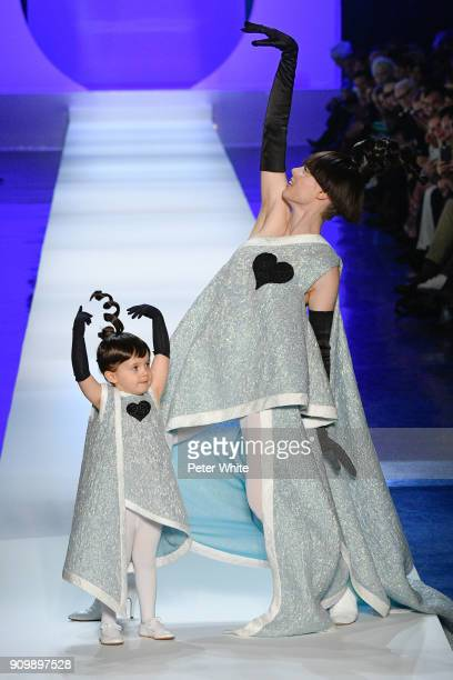 Ioni James Conran and Coco Rocha walk the runway during the JeanPaul Gaultier Spring Summer 2018 show as part of Paris Fashion Week on January 24...