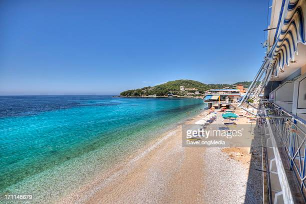 ionian coastal beach - albania stock photos and pictures