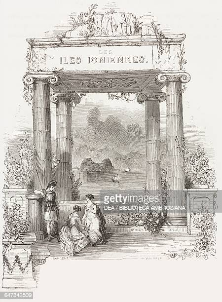 Ionian Islands, ancient pavilion facing the sea, engraving from Greece, Pictorial, Descriptive, and Historical by Christopher Wordsworth .