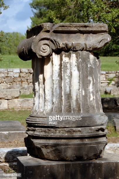 Ionic order Chapiter with volute Shaft fluted Ruins Olympia Greece Peloponnese