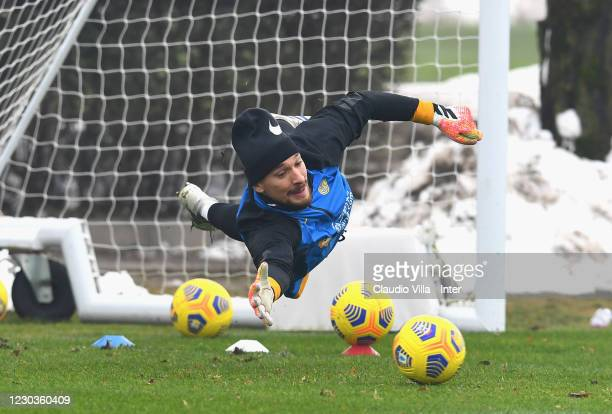 Ionut Andrei Radu of FC Internazionale in action during a training session at Appiano Gentile on December 30, 2020 in Como, Italy.