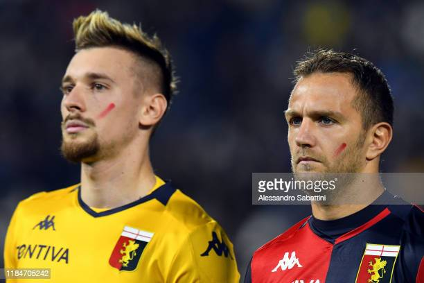 Ionut Radu and Domenico Criscito of Genoa CFC during the Serie A match between SPAL and Genoa CFC at Stadio Paolo Mazza on November 25 2019 in...