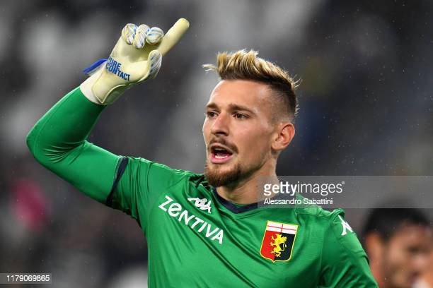 Ionut Radu of Genoa CFC gestures during the Serie A match between Juventus and Genoa CFC at on October 30 2019 in Turin Italy