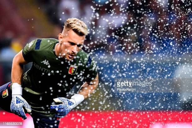 Ionut Radu of Genoa warms up before the Serie A match between Genoa CFC and ACF Fiorentina at Stadio Luigi Ferraris on September 1 2019 in Genoa Italy
