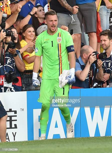Ionut Radu of Romania celebrates the victory after the 2019 UEFA U-21 Group C match between England and Romania at Dino Manuzzi Stadium on June 21,...