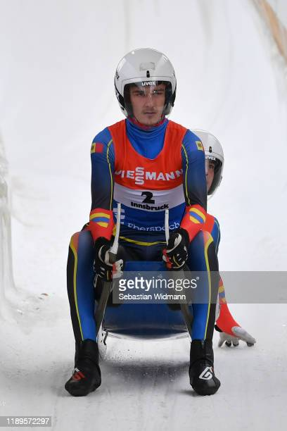Ionut Siscanu and Iulian Oprea of Moldavia finish their second run in the Doubles event during the FIL Luge World Cup at Olympia-Rodelbahn on...