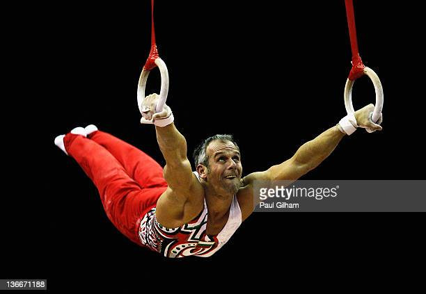 Iordan Iovtchev of Bulgaria in action on the rings during day one of the Men's Gymnastics Olympic Qualification round at North Greenwich Arena on...