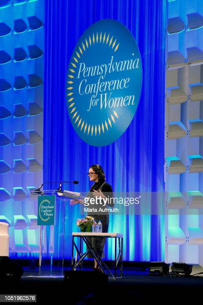 iOS developer and a mental health and human rights activist Amanda Southworth delivers her Keynote Speech on stage during Pennsylvania Conference for...