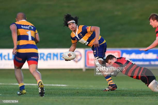 Iosefa Maloney of the Bay of Plenty looks for support during the Jock Hobbs U19 Rugby Tournament on September 15 2018 in Taupo New Zealand
