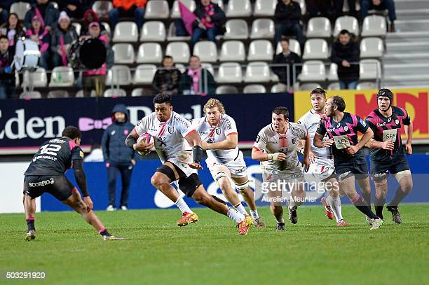 Iosefa Tekori of Stade Toulousain runs with the ball during the Top 14 game between Stade Francais and Stade Toulousain at Stade Jean Bouin on...