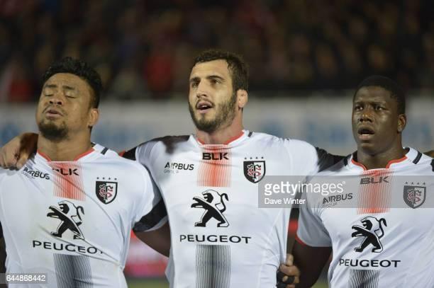 Iosefa TEKORI / Yoann MAESTRI / Yacouba CAMARA / La Maseillaise / Hommage aux victimes des attentas de Paris Saracens / Toulouse Champions Cup Photo...