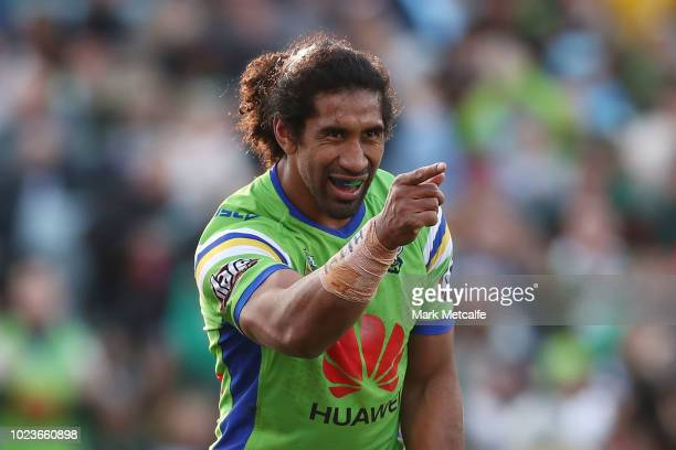 Iosia Soliola celebrates scoring a try during the round 24 NRL match between the Canberra Raiders and the South Sydney Rabbitohs at GIO Stadium on...