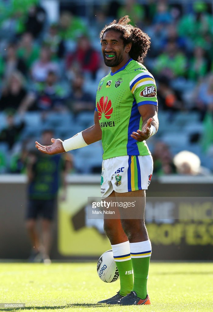 Iosia Soliola of the Raiders celebrates scoring a try during the round nine NRL match between the Canberra Raiders and the Gold Coast Titans at GIO Stadium on May 5, 2018 in Canberra, Australia.