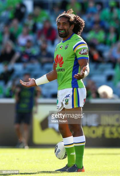Iosia Soliola of the Raiders celebrates scoring a try during the round nine NRL match between the Canberra Raiders and the Gold Coast Titans at GIO...