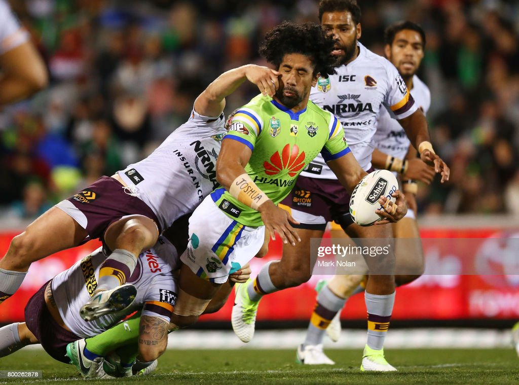 Iosia Soliola of the Raiders looks to offload during the round 16 NRL match between the Canberra Raiders and the Brisbane Broncos at GIO Stadium on June 24, 2017 in Canberra, Australia.