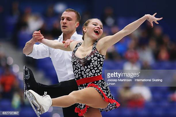 Ioulia Chtchetinina and Noah Scherer of Switzerland compete in the Pairs Short Program during day 1 of the European Figure Skating Championships at...