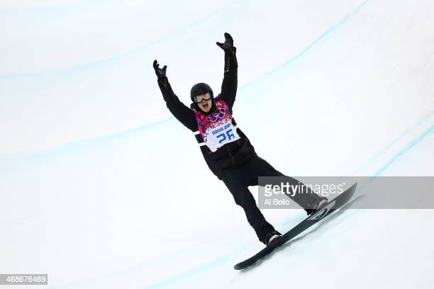 Iouri Podladtchikov of Switzerland celebrates after competing in the Snowboard Men's Halfpipe Finals on day four of the Sochi 2014 Winter Olympics at...
