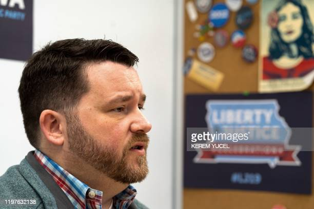 Iowa Democratic Party Chair Troy Price speaks during an interview with AFP on January 30 2020 in Des Moines Iowa The Democrats hoping to clinch...