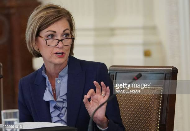 Iowa Governor Kim Reynolds speaks during an American Workforce Policy Advisory Board Meeting in the East Room of the White House in Washington, DC on...