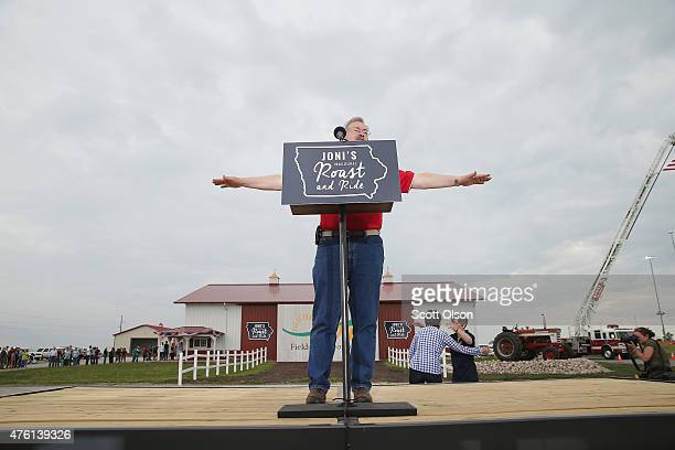 Iowa Governor Terry Branstad speaks at a Roast and Ride event hosted by freshman Senator Joni Ernst on June 6 2015 in Boone Iowa Ernst is hoping the...