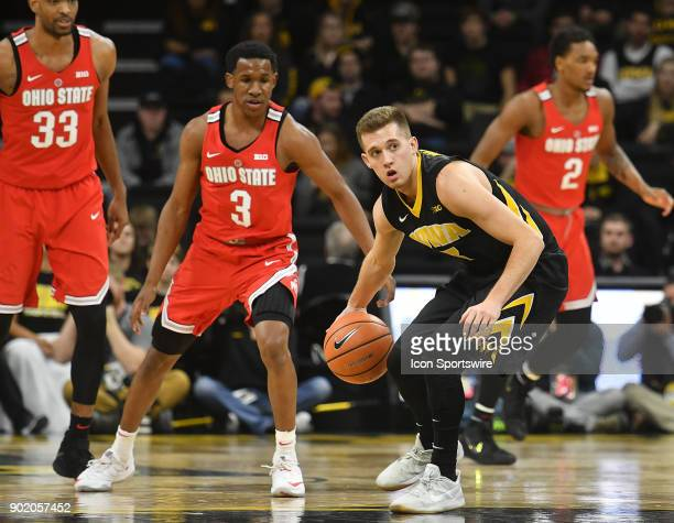 Iowa guard Jordan Bohannon with the ball in the second half during a Big Ten Conference basketball game between the Ohio State Buckeyes and the Iowa...