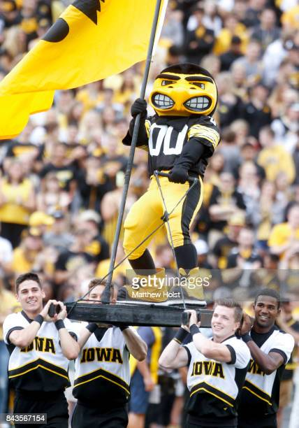 Iowa Hawkeye mascot Herky the Hawk takes the field before the matchup against the Wyoming Cowboys on September 2 2017 at Kinnick Stadium in Iowa City...