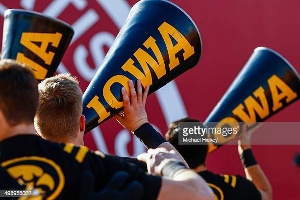 Iowa Hawkeyes cheerleaders are seen during the game against the Indiana Hoosiers at Memorial Stadium on November 7 2015 in Bloomington Indiana