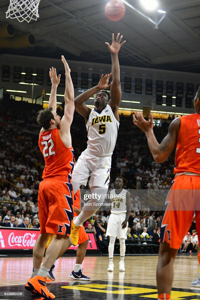 Iowa Hawkeyes' forward Tyler Cook (5) puts up a shot during a Big Ten Conference basketball game between the University of Illinois Fighting Illini and the University of Iowa Hawkeyes on February 18, 2017, at Carver-Hawkeye Arena in Iowa City, IA.