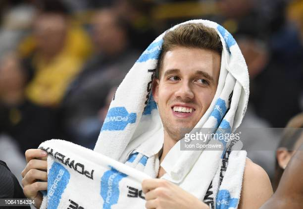 Iowa Hawkeyes guard Jordan Bohannon is shown on the Iowa bench after coming out early in the second half during a nonconference basketball game...