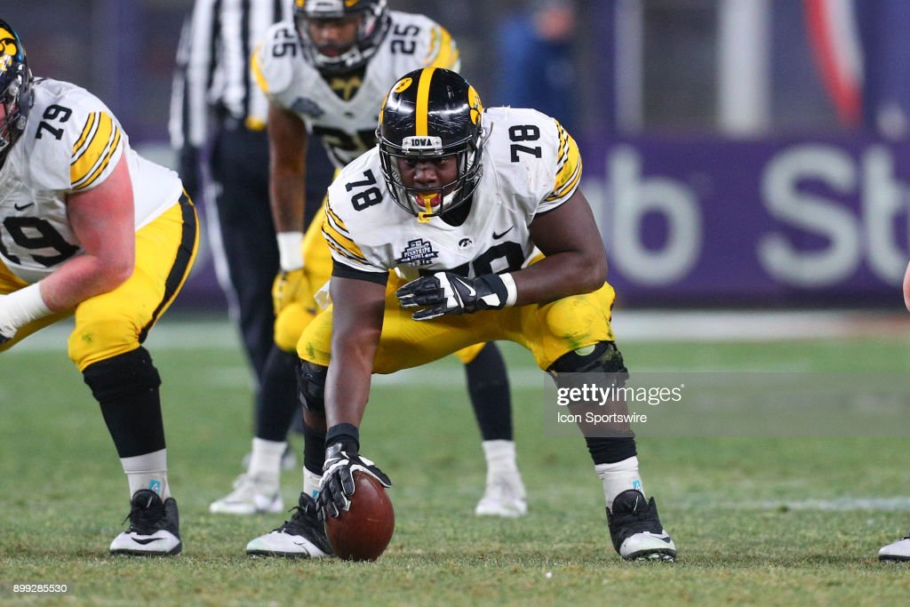 Iowa Hawkeyes offensive lineman James Daniels (78) during the New Era Pinstripe Bowl on December 27, 2017, between the Boston College Eagles and the Iowa Hawkeyes at Yankee Stadium in the Bronx, NY.